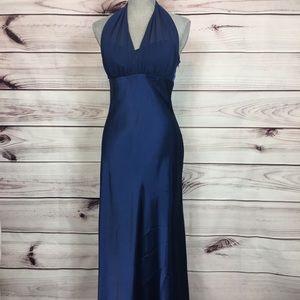 David's Bridal 8 Blue Satin Halter Long Gown